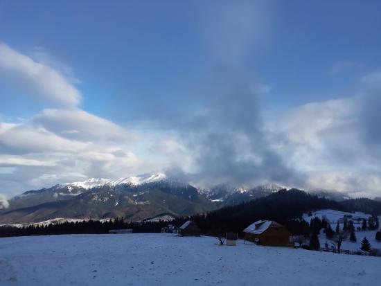 Cheile Gradistei Fundata : View towards Bucegi Mountains, in winter