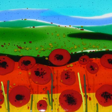 Worcestershire, UK: Poppy Field Fused Glass