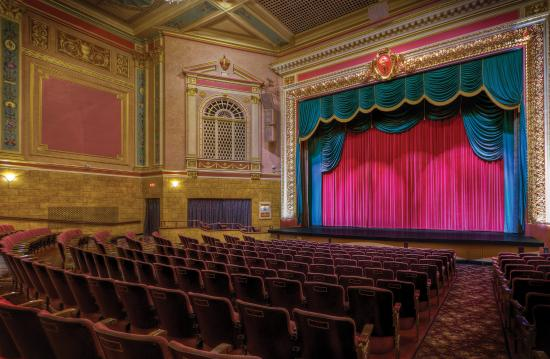 Woonsocket, RI: A view of the Stadium Theatre proscenium.
