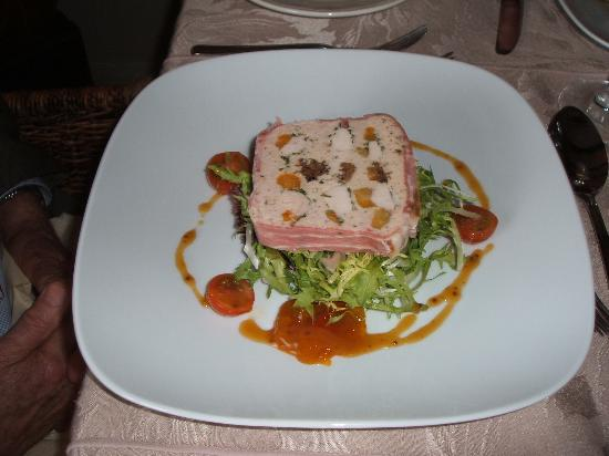 Beckingham, UK: Chicken and duck terrine with apricots