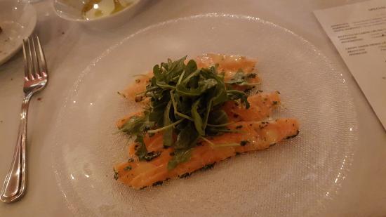 Clayton, MO: SALMONE IN SAOR, citrus-cured salmon, sea salt & fresh herb salad