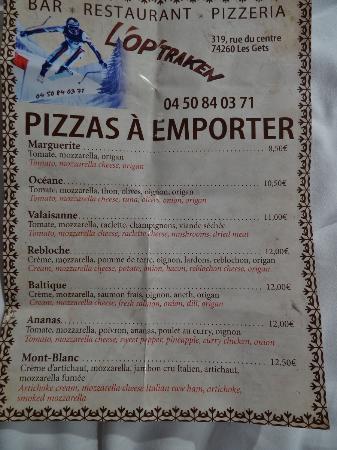 L'Op Traken : Take out menu