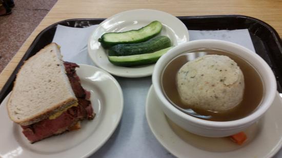 Katz S Pastrami Matzo Ball Soup Half Done Pickles Picture Of Katz S Deli New York City Tripadvisor