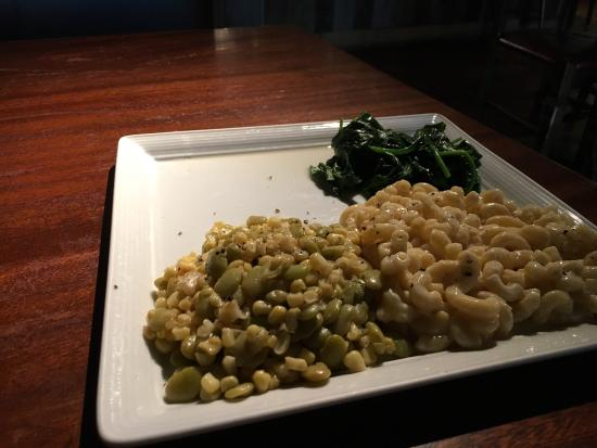 delicious plate of succotash mac cheese and wilted spinach for rh tripadvisor co uk