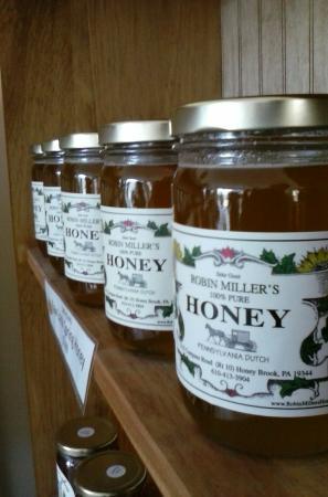 Over two dozen types of raw honey at Robin Miller's Honey - in Honey Brook.