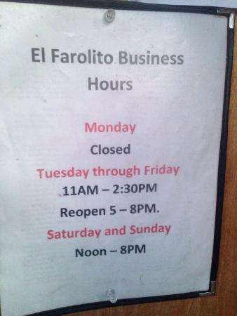 El Rito, Nuevo Mexico: Hours as posted 3-15-2016