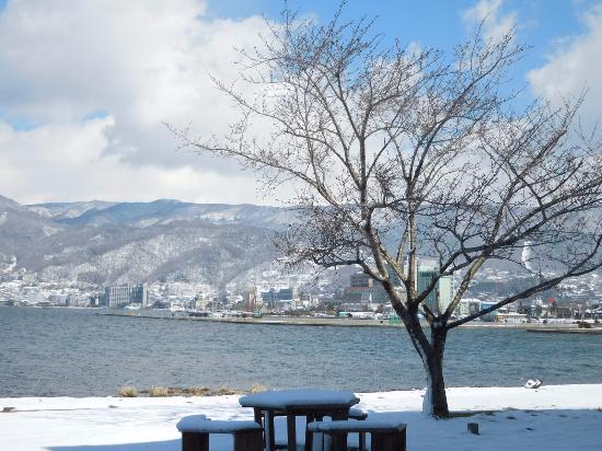 Taizi Harada Art Museum: 館内から眺めた諏訪湖の雪景色