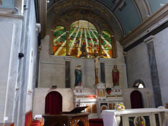 main altar with beautiful stained glass window picture of church rh tripadvisor com