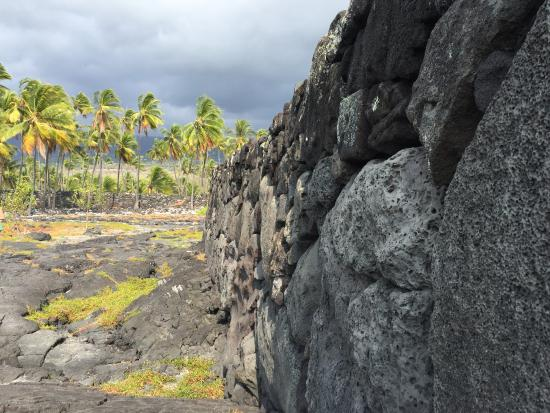 Honaunau, Hawái: One of the amazing walls near the point, surrounded by swaying coconut palms.