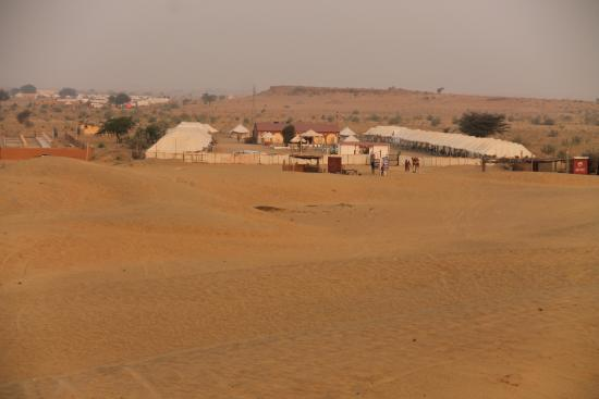 Mehar Adventure Safari Camp: View of tents from the top of the sand dunes