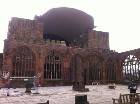 Coventry, UK: View inside the ruins looking towards new cathedral