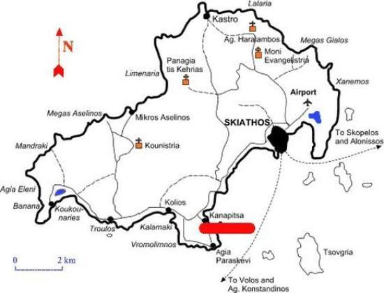 Skiathos Map Picture of Cape Kanapitsa Hotel Suites Skiathos