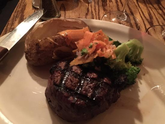 Blue Spruce Inn : 8 ounce fillet with baked potato, carrots and broccoli