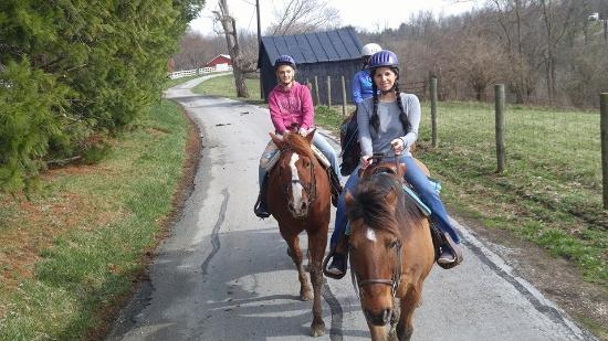 First Farm Inn Horseback Riding: Riding down a rural KY road