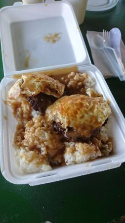 Kaunakakai, Hawaï: Loco Moco Burger: tanto brutto, quanto buono.