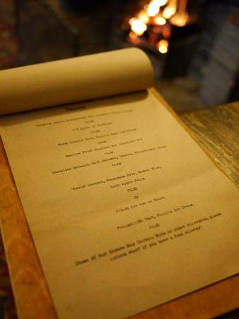 Ringmore, UK: Pudding menu in front of the open fire