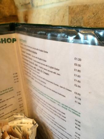 The Moors Coffee Shop: Chipped plate ripped menu dirty plastic tablecloth