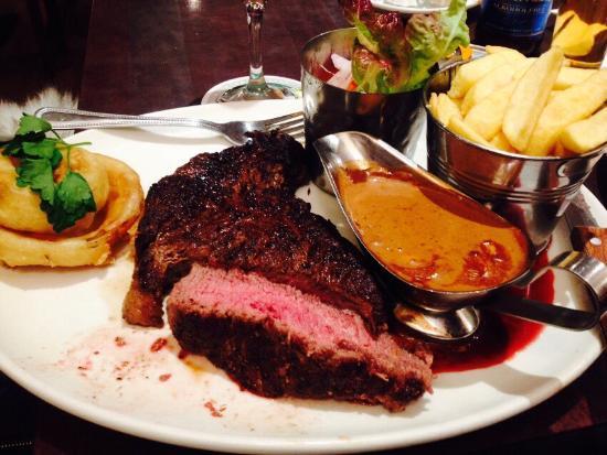 The Brock Inn: 14oz Rib Eye Steak with mushroom sauce