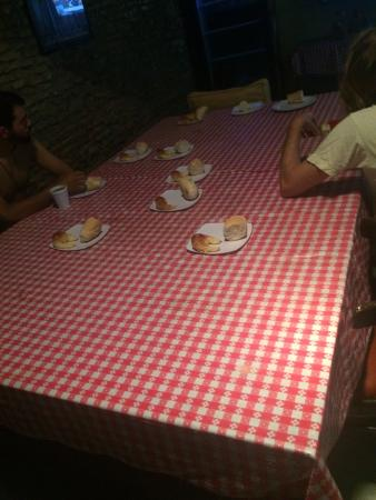 Granados Hostel: This is breakfast. They put out about 30-40 plates with bread and a croissant on then league the