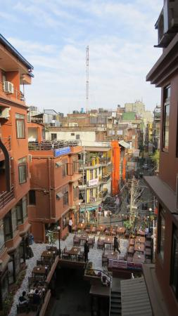 Hotel Access Nepal: View from Room - Breakfast is Served Above the Blue Sign on Left.