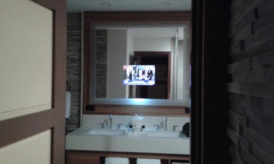 tv in bathroom mirror how cool is that picture of villas of rh tripadvisor com