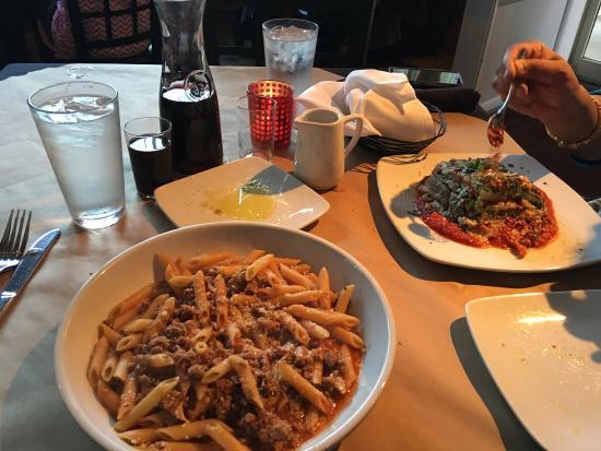 Pomodori: Sausage pasta, Vegetable lasagna and chocolate brownie with ...
