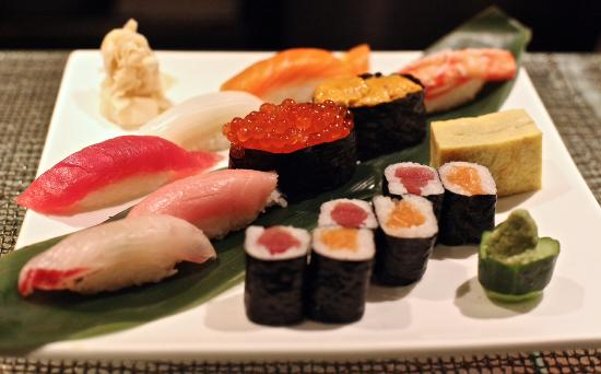 an assortment of sushi and sushi rolls the egg on the middle right rh tripadvisor com