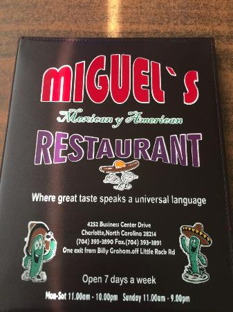 Miguel's Restaurants Incorporated : Front of Menu