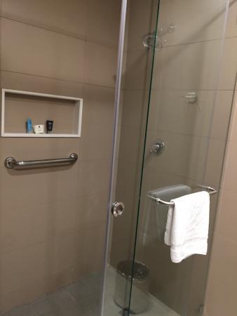 mildew in shower on floor outside of the leaky shower door pretty rh tripadvisor com
