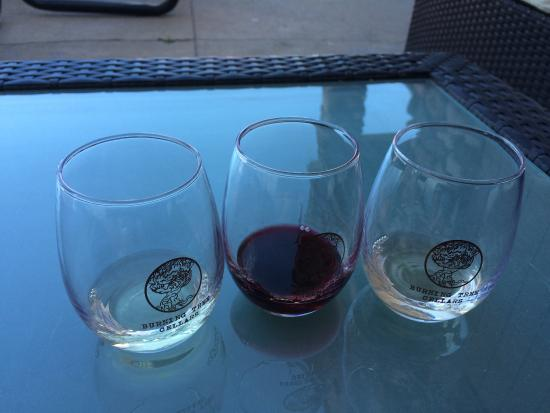 Burning Tree Cellars Tasting Room: These are the glasses you keep with a wine tasting!