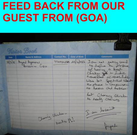 FEED BACK FROM OUR GUEST FROM (GOA)