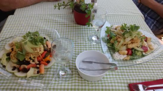 Oak Leaf Restaurant: Calamari salad left.......Cornation chicken salad right