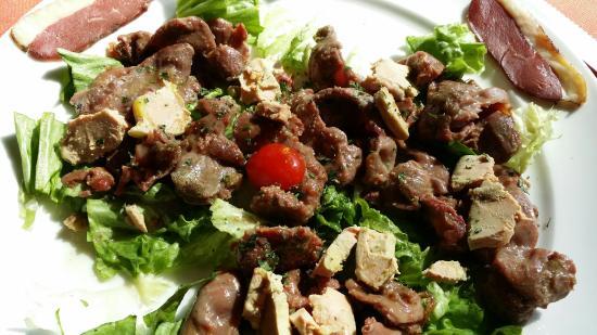 Aoste, Франция: Salade se Gésiers et terrine de pigeons au foie gras. Tout le Sud Ouest...