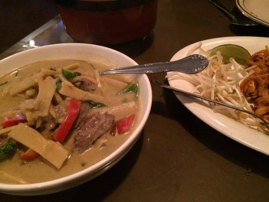 Little Bangkok: Thai green curry with beef & Pad thai.