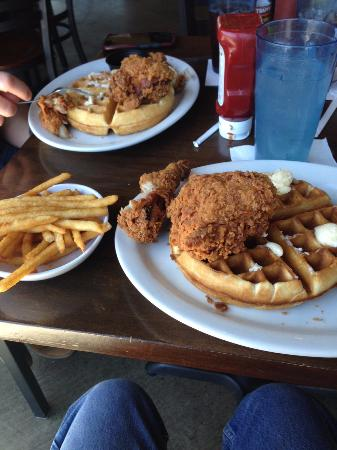 Nexus Brewery: 2 piece Chicken and Waffles with beer battered fries