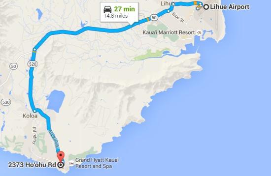 The Villas At Poipu Kai Map From Airport