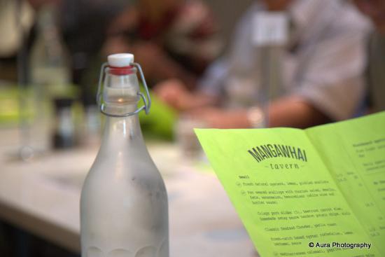 Mangawhai, New Zealand: Water and menu