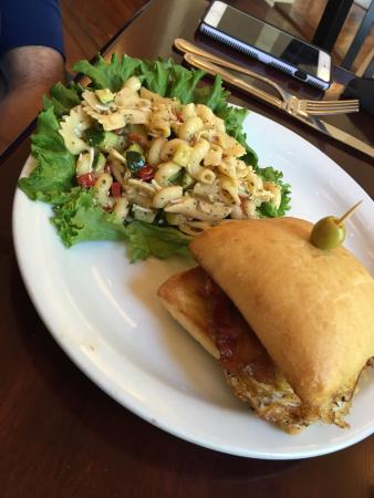 Castroville, TX: Fried Egg Sammy with Pasta Salad