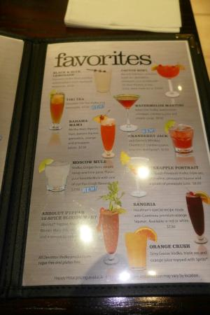 Houlihan's: Cocktail menu and my mango margarita for $8