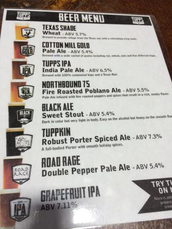 Beer Menu  Picture Of Tupps Brewery Mckinney  Tripadvisor