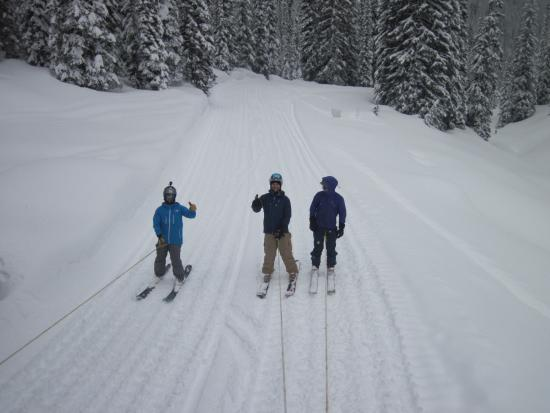 Great Northern Snowcat Skiing: A little tow behind the cat between runs