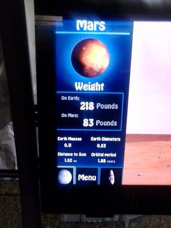 Clark Planetarium: Kinda cool only weigh 83 pounds on Mars