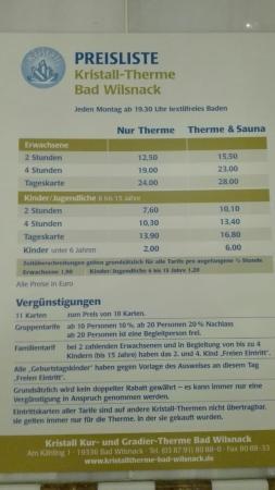 Bad Wilsnack, Germany: Preisliste
