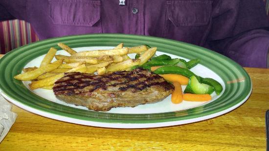 Franklin, IN: steak, fries, steamed veggies