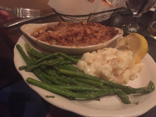 The baked haddock with del monico potatoes and aspargus