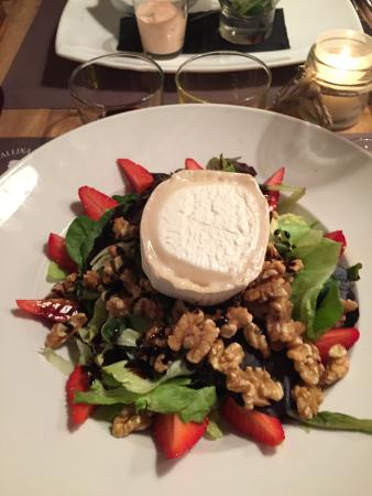 ... , walnut and super creamy goat cheese salad with a balsamic dressing