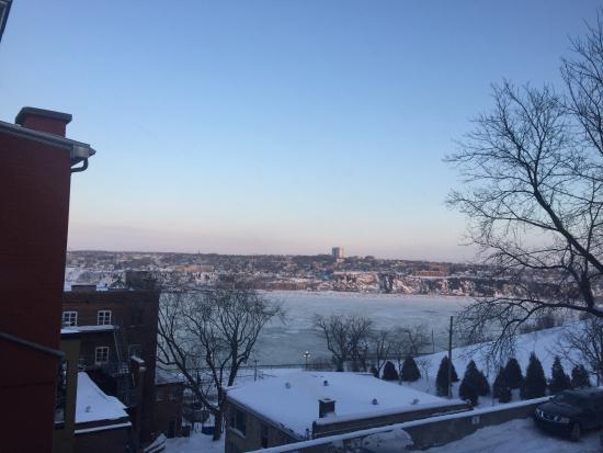 Manoir Sur-le-Cap: View of frozen St. Lawrence River from balcony