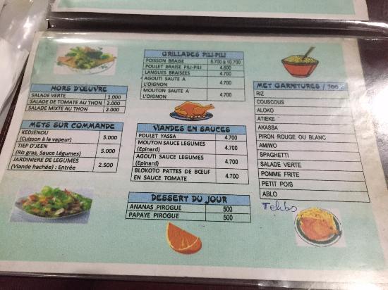Pili Pili : le menu