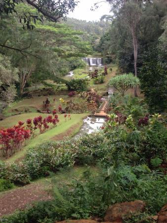Kilauea, Hawái: Historic dam, built for irrigation of the former sugar plantation, over a cenury ago