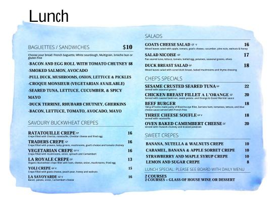 lunch menu - Picture of Le Trader, Sydney - TripAdvisor